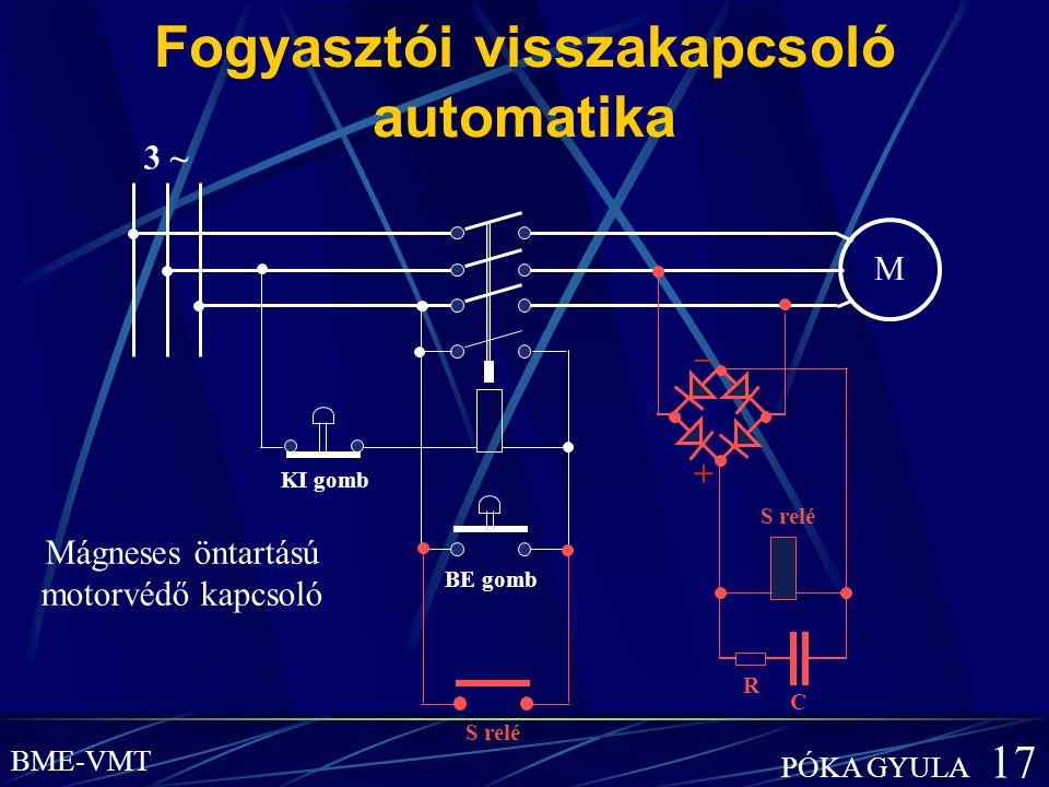 Fogyasztói visszakapcsoló automatika M BE gomb KI gomb Mágneses öntartású motorvédő kapcsoló 3 ~ BME-VMT PÓKA GYULA 17 S relé R C – +