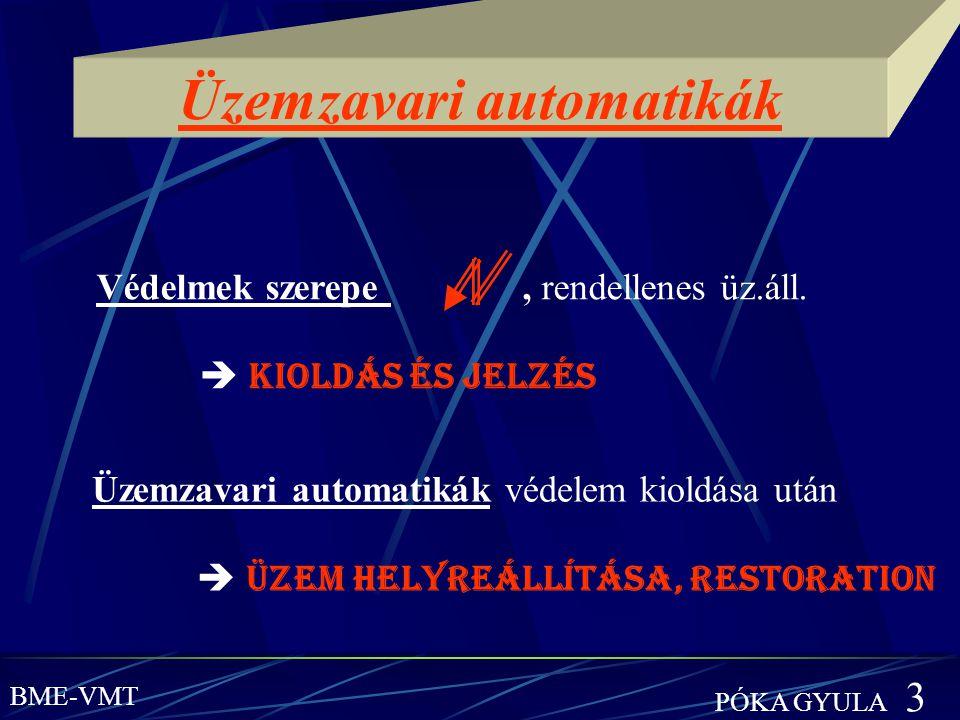Üzemzavari automatikák Védelmek szerepe, rendellenes üz.áll.  KIOLDÁS és JELZÉS Üzemzavari automatikák védelem kioldása után  ÜZEM HELYREÁLLÍTÁSA, R
