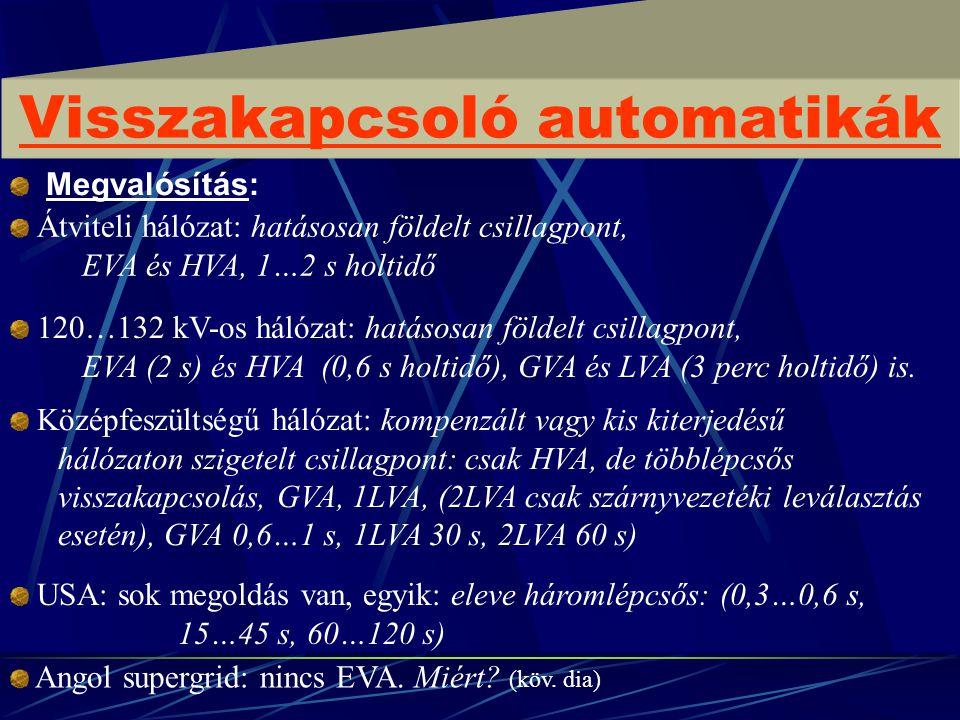 Megvalósítás: Visszakapcsoló automatikák Átviteli hálózat: hatásosan földelt csillagpont, EVA és HVA, 1…2 s holtidő 120…132 kV-os hálózat: hatásosan f