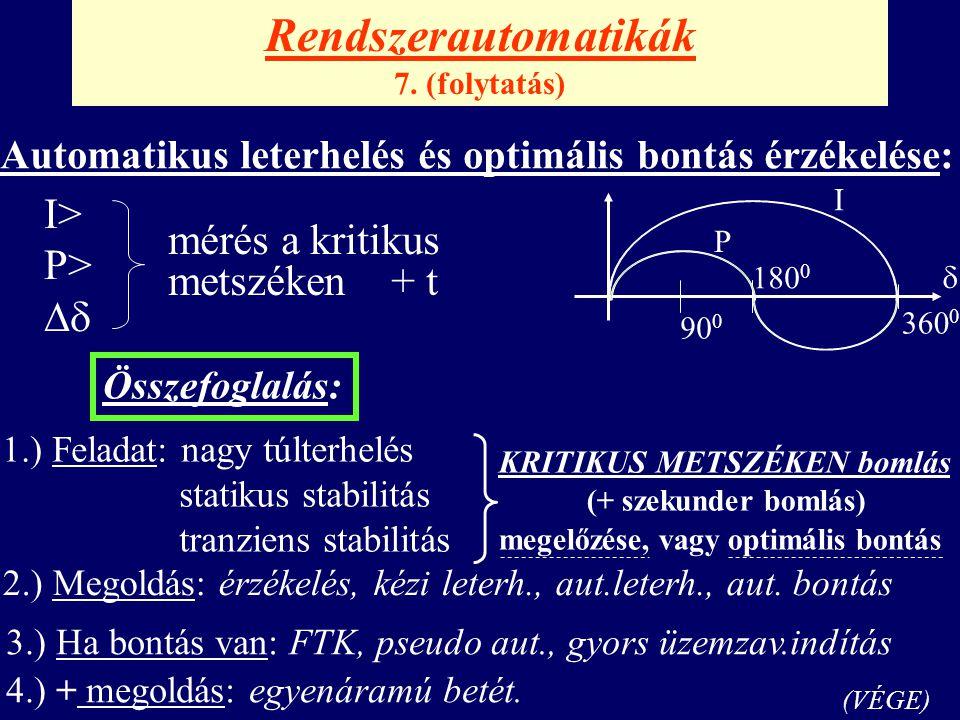 Rendszerautomatikák 7. (folytatás) Automatikus leterhelés és optimális bontás érzékelése: I> P>   P I 180 0 360 0 90 0 mérés a kritikus metszéken +
