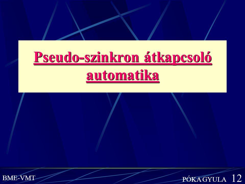 Pseudo-szinkron átkapcsoló automatika Pseudo-szinkron átkapcsoló automatika BME-VMT PÓKA GYULA 12
