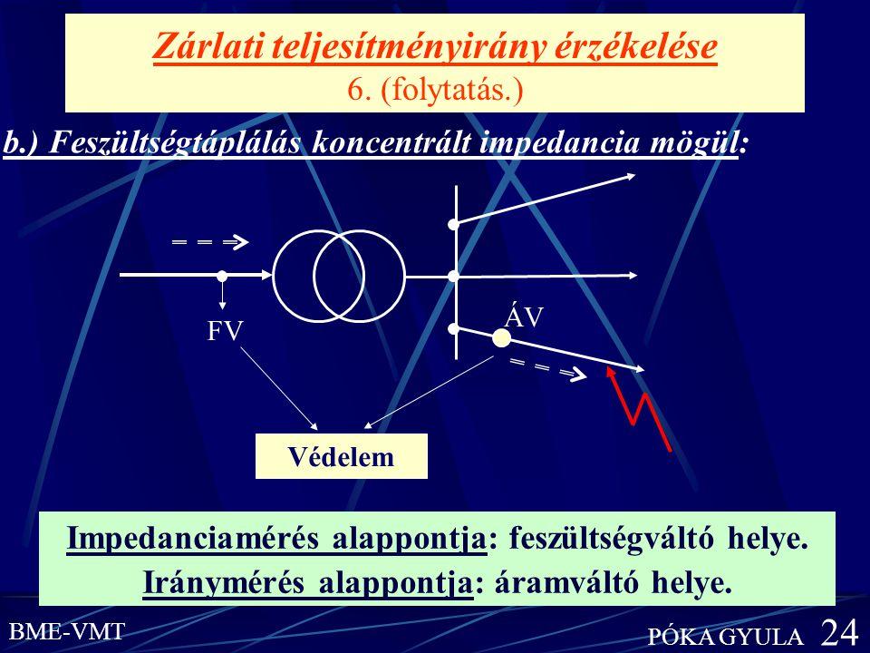 Zárlati teljesítményirány érzékelése 6. (folytatás.) b.) Feszültségtáplálás koncentrált impedancia mögül: Impedanciamérés alappontja: feszültségváltó