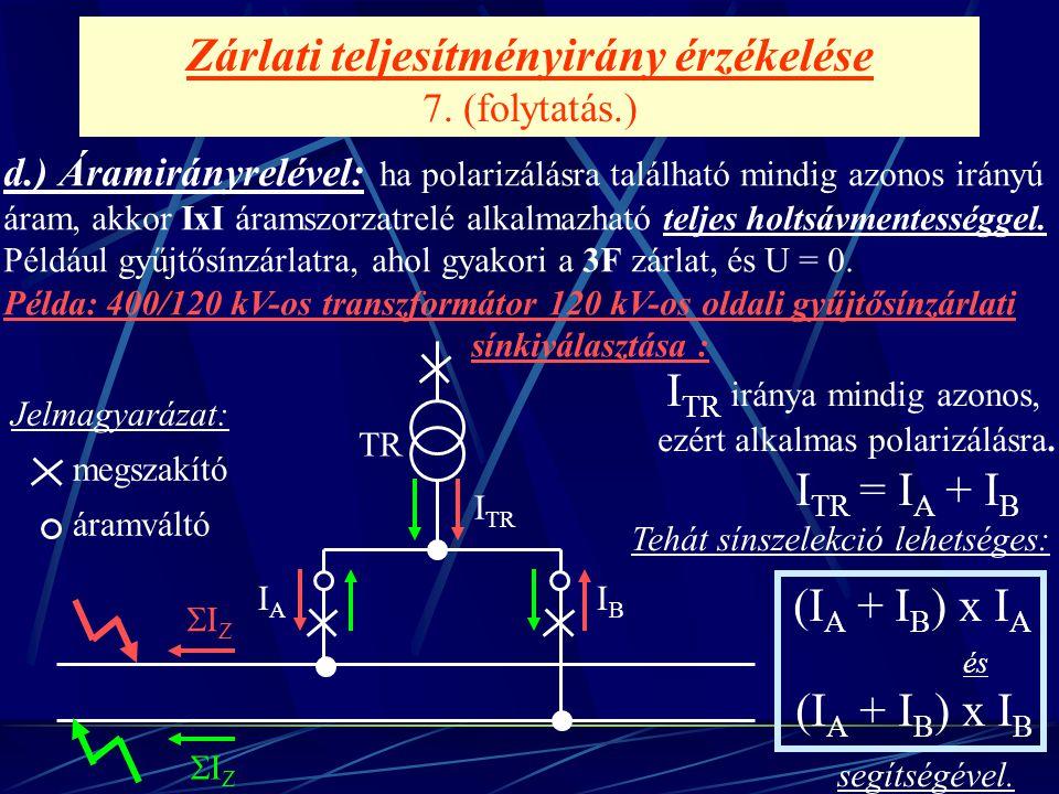 Zárlati teljesítményirány érzékelése 7. (folytatás.) d.) Áramirányrelével: ha polarizálásra található mindig azonos irányú áram, akkor IxI áramszorzat