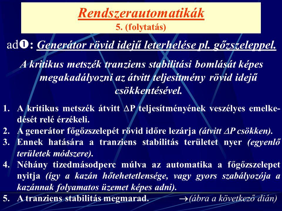 Rendszerautomatikák 5. (folytatás) ad  : Generátor rövid idejű leterhelése pl. gőzszeleppel. A kritikus metszék tranziens stabilitási bomlását képes