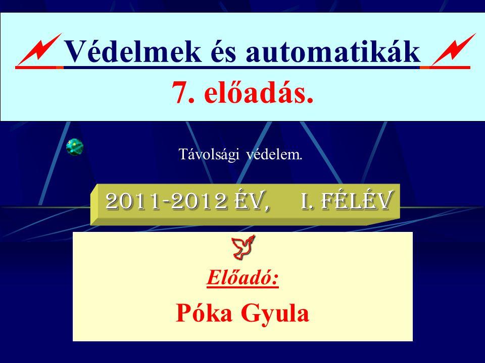 Távolsági védelem..  Védelmek és automatikák  7. előadás.  Előadó: Póka Gyula 2011-2012 év, I. félév