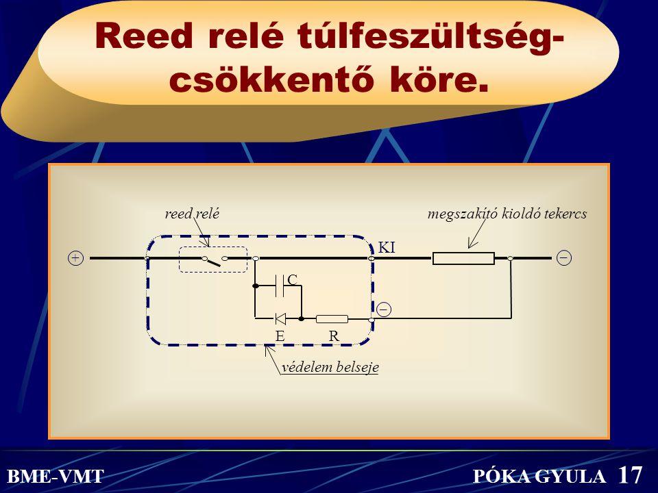 Reed relé túlfeszültség- csökkentő köre. BME-VMT PÓKA GYULA 17 reed relémegszakító kioldó tekercs C E R védelem belseje – KI + –