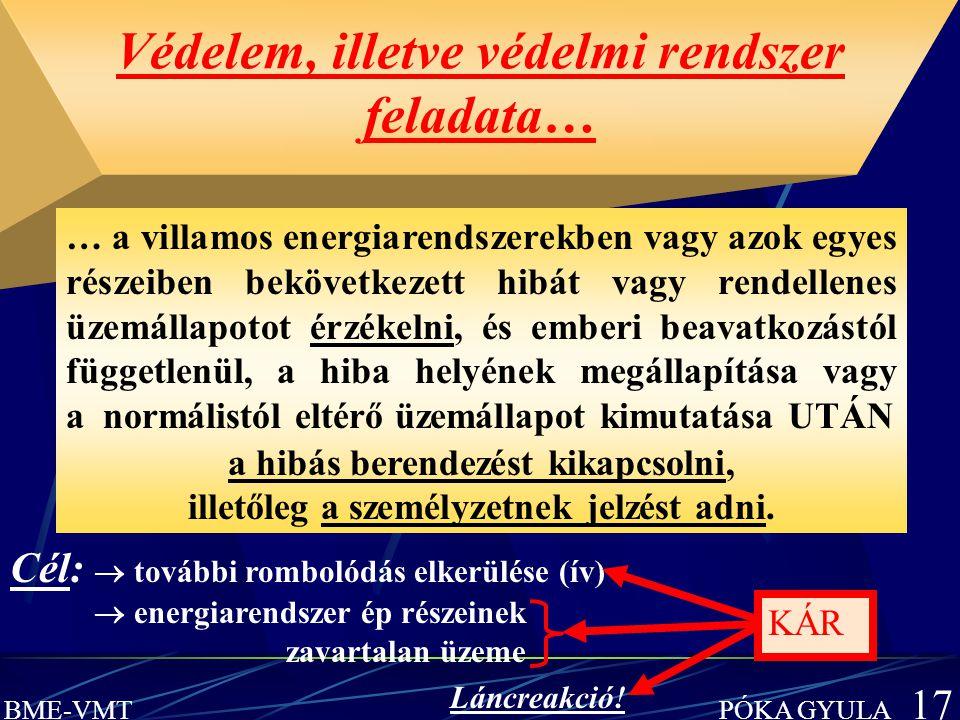 BME-VMT PÓKA GYULA 17 Védelem, illetve védelmi rendszer feladata… … a villamos energiarendszerekben vagy azok egyes részeiben bekövetkezett hibát vagy