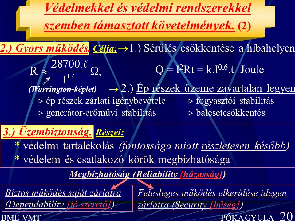 BME-VMT PÓKA GYULA 20 Védelmekkel és védelmi rendszerekkel szemben támasztott követelmények. (2) 3.) Üzembiztonság. Részei: * védelmi tartalékolás (fo