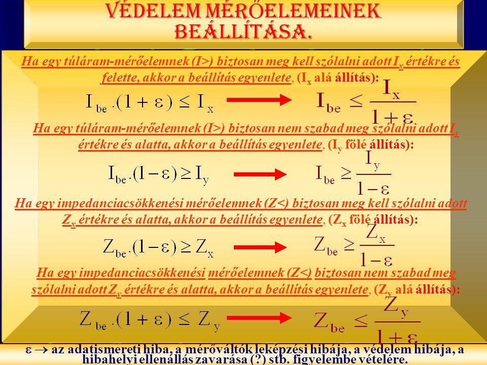 BME-VMT PÓKA GYULA 22 Ha egy túláram-mérőelemnek (I>) biztosan meg kell szólalni adott I x értékre és felette, akkor a beállítás egyenlete, (I x alá á