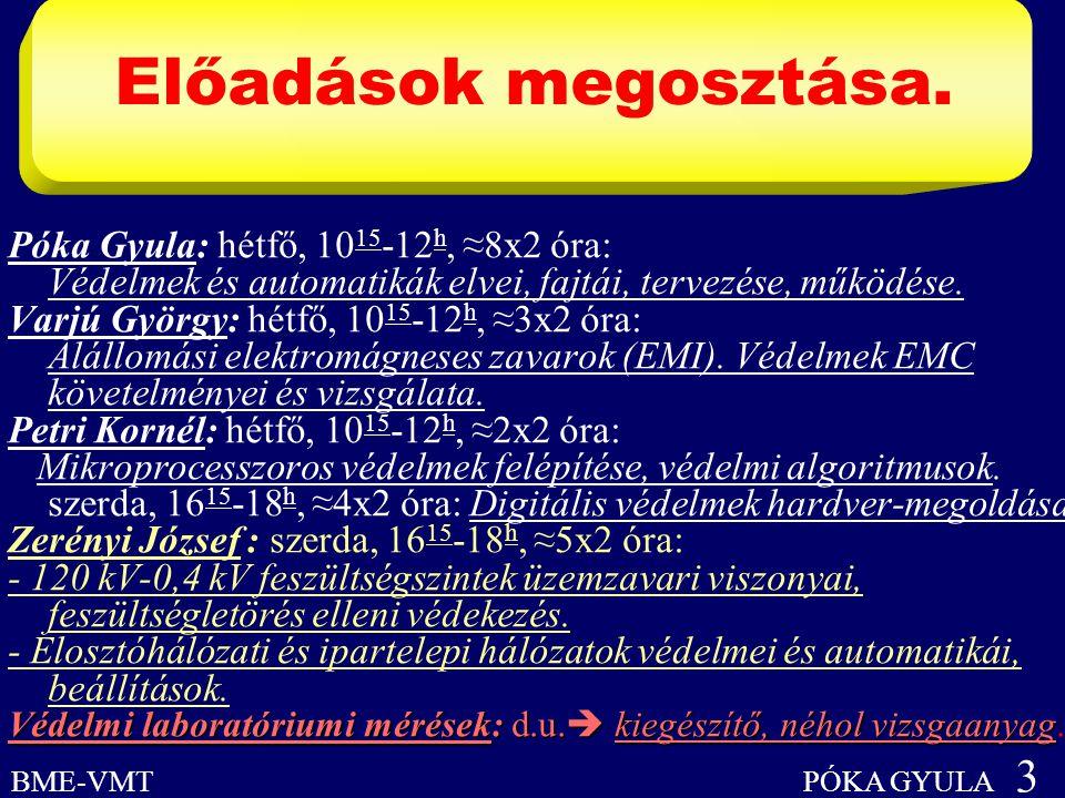 Előadások megosztása. BME-VMT PÓKA GYULA 3 Póka Gyula: hétfő, 10 15 -12 h, ≈8x2 óra: Védelmek és automatikák elvei, fajtái, tervezése, működése. Varjú