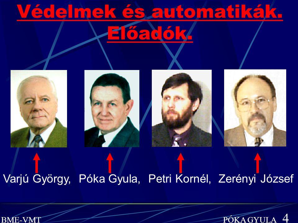 BME-VMT PÓKA GYULA 4 Védelmek és automatikák. Előadók. Varjú György, Póka Gyula, Petri Kornél, Zerényi József