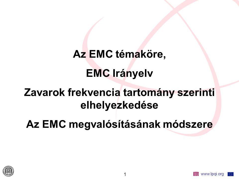 www.lpqi.org 1 Az EMC témaköre, EMC Irányelv Zavarok frekvencia tartomány szerinti elhelyezkedése Az EMC megvalósításának módszere