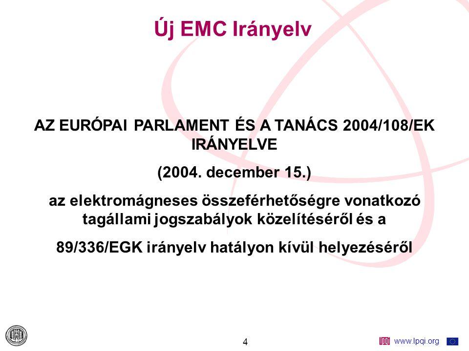 """www.lpqi.org 15 Az EMC fogalma és medvalósítási módja """"Valamely berendezésnek vagy rendszernek az a képessége, hogy a saját elektromágneses környezetében kielégítően működik anélkül, hogy a környezetében bármi számára elviselhetetlen elektromágneses zavarást idézne elő"""