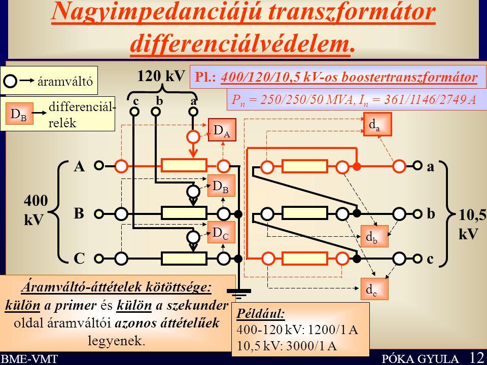 PÓKA GYULA 12 BME-VMT Nagyimpedanciájú transzformátor differenciálvédelem. Áramváltó-áttételek kötöttsége: külön a primer és külön a szekunder oldal á