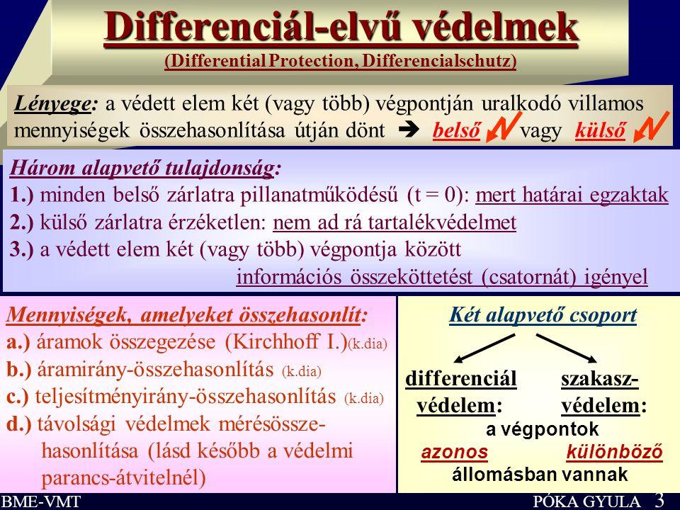 PÓKA GYULA 3 BME-VMT Differenciál-elvű védelmek Differenciál-elvű védelmek (Differential Protection, Differencialschutz) Három alapvető tulajdonság: 1