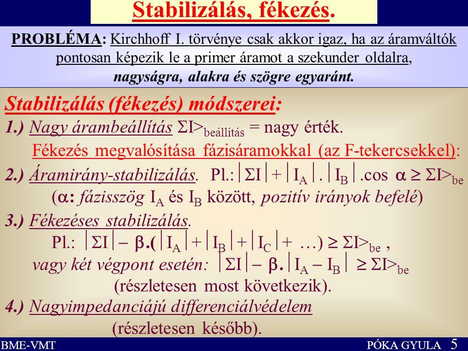 PÓKA GYULA 5 BME-VMT Stabilizálás, fékezés. Stabilizálás (fékezés) módszerei: 1.) Nagy árambeállítás  I> beállítás = nagy érték. PROBLÉMA: Kirchhoff