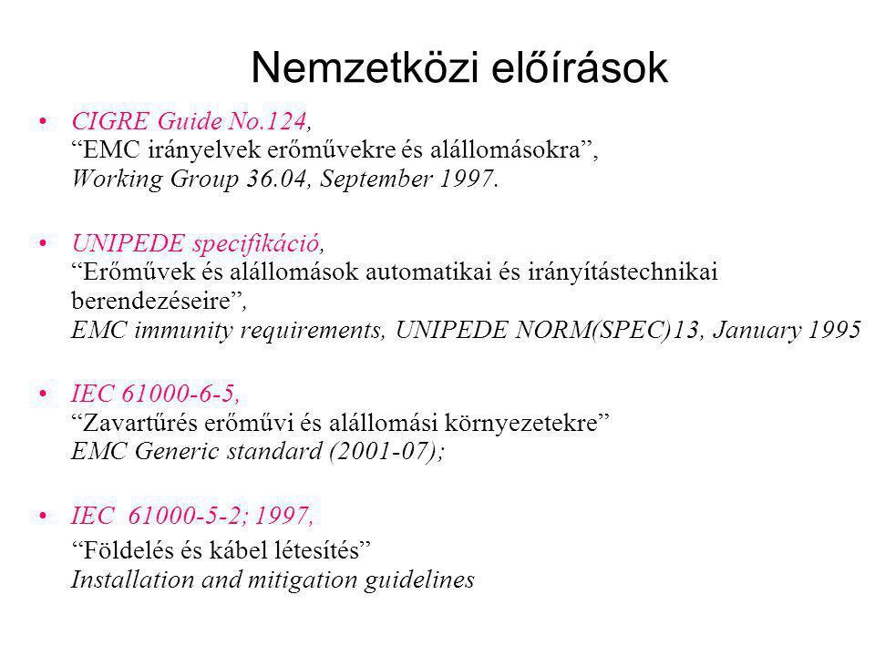 """Nemzetközi előírások CIGRE Guide No.124, """"EMC irányelvek erőművekre és alállomásokra"""", Working Group 36.04, September 1997. UNIPEDE specifikáció, """"Erő"""