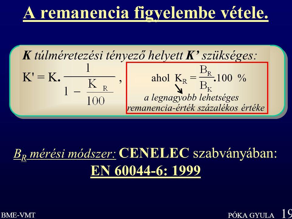BME-VMT PÓKA GYULA 19 K túlméretezési tényező helyett K' szükséges: K = K., ahol K R =.