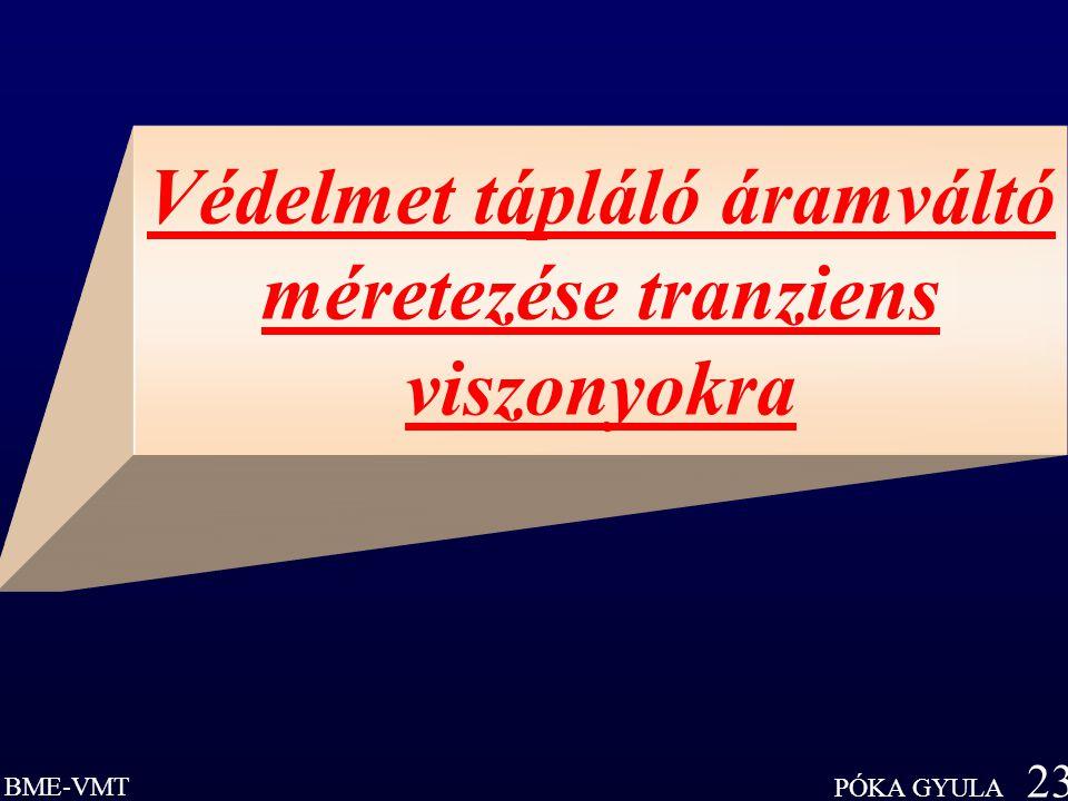 BME-VMT PÓKA GYULA 23 Védelmet tápláló áramváltó méretezése tranziens viszonyokra
