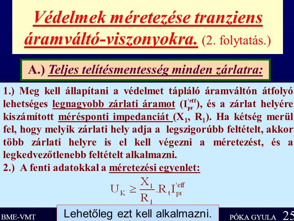 BME-VMT PÓKA GYULA 25 Védelmek méretezése tranziens áramváltó-viszonyokra.