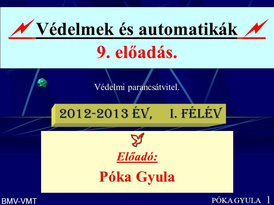 Védelmi parancsátvitel.  Védelmek és automatikák  9. előadás. PÓKA GYULA 1 BMV-VMT  Előadó: Póka Gyula 2012-2013 év, I. félév