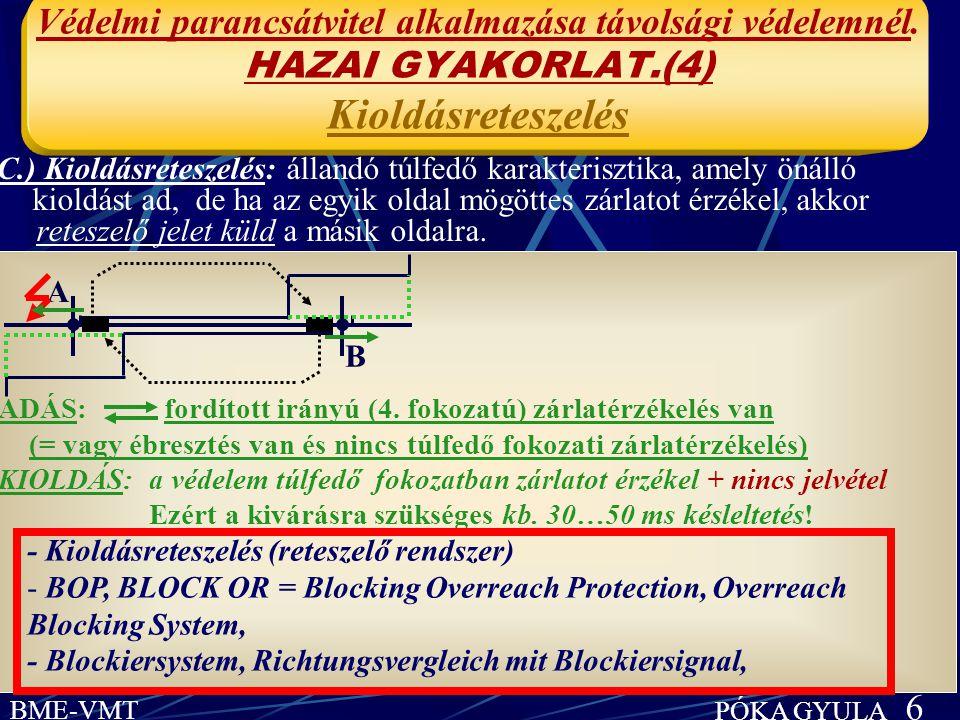 BME-VMT PÓKA GYULA 6 Védelmi parancsátvitel alkalmazása távolsági védelemnél. HAZAI GYAKORLAT.(4) Kioldásreteszelés ADÁS: fordított irányú (4. fokozat