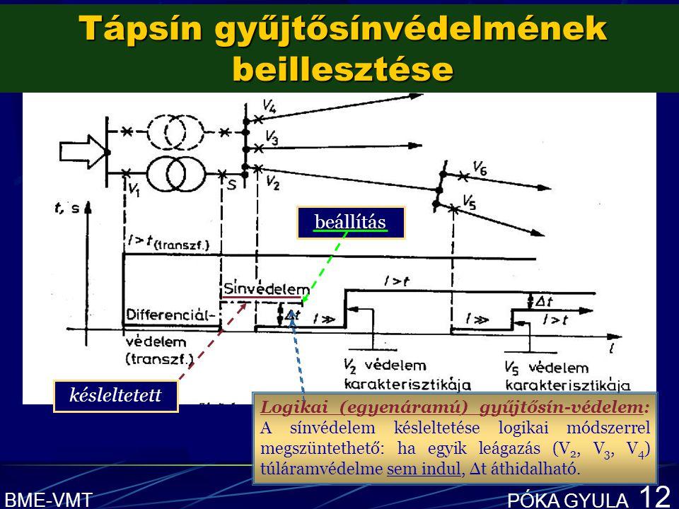 BME-VMT PÓKA GYULA 12 b beállítás késleltetett Logikai (egyenáramú) gyűjtősín-védelem: A sínvédelem késleltetése logikai módszerrel megszüntethető: ha egyik leágazás (V 2, V 3, V 4 ) túláramvédelme sem indul, Δt áthidalható.
