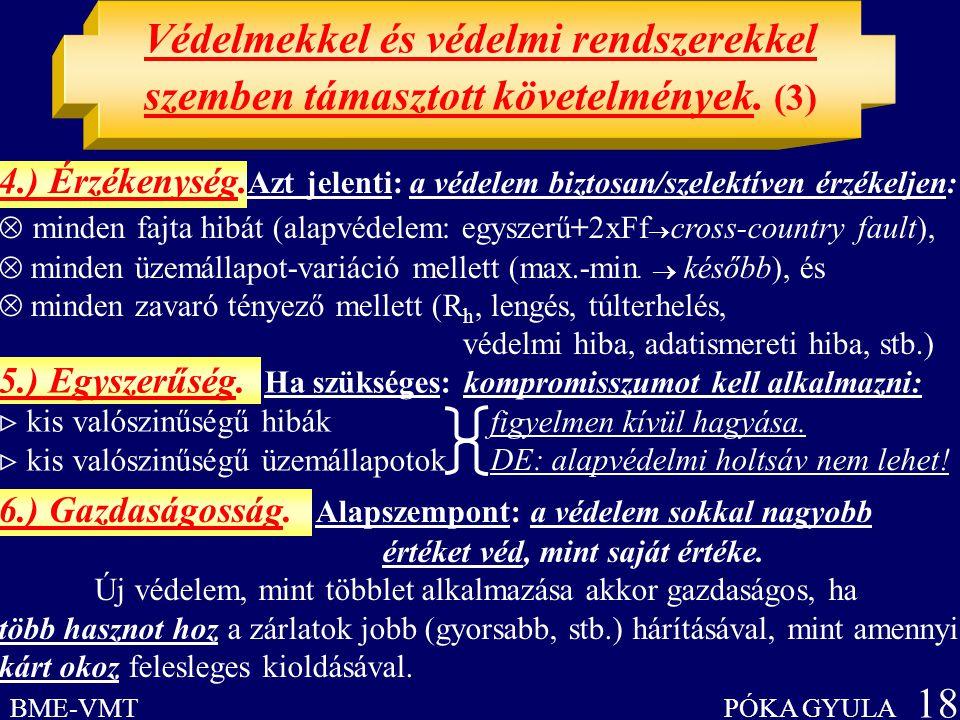 Védelmekkel és védelmi rendszerekkel szemben támasztott követelmények. (3) BME-VMT PÓKA GYULA 18 figyelmen kívül hagyása. DE: alapvédelmi holtsáv nem