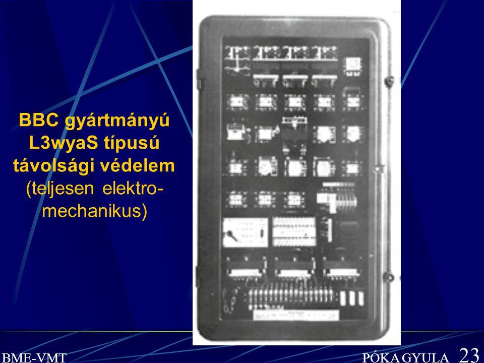 BME-VMT PÓKA GYULA 23 BBC gyártmányú L3wyaS típusú távolsági védelem (teljesen elektro- mechanikus)