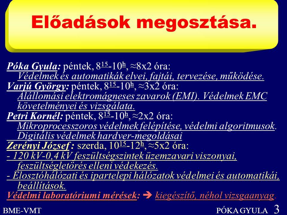Előadások megosztása. BME-VMT PÓKA GYULA 3 Póka Gyula: péntek, 8 15 -10 h, ≈8x2 óra: Védelmek és automatikák elvei, fajtái, tervezése, működése. Varjú