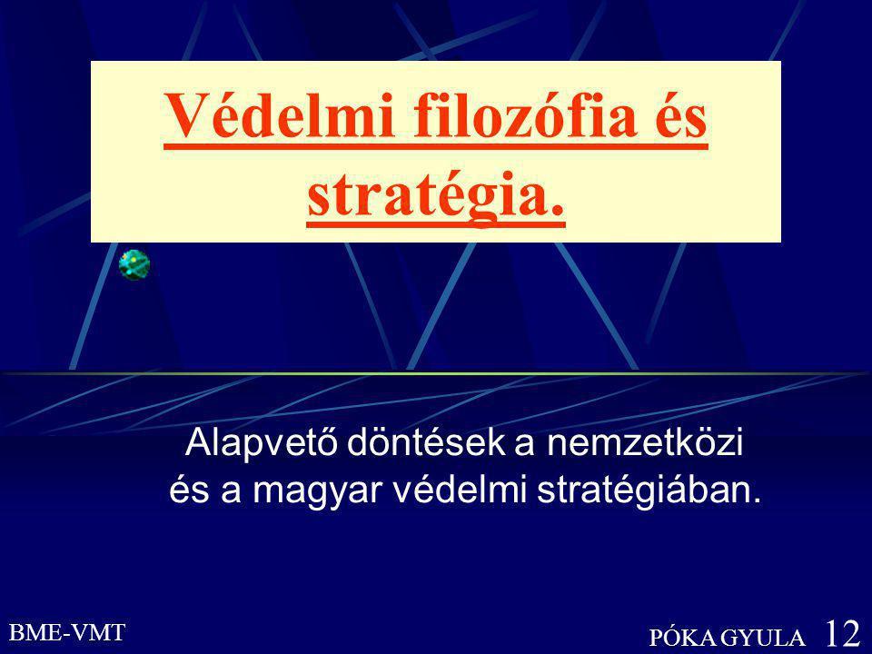 BME-VMT PÓKA GYULA 12 Védelmi filozófia és stratégia. Alapvető döntések a nemzetközi és a magyar védelmi stratégiában.