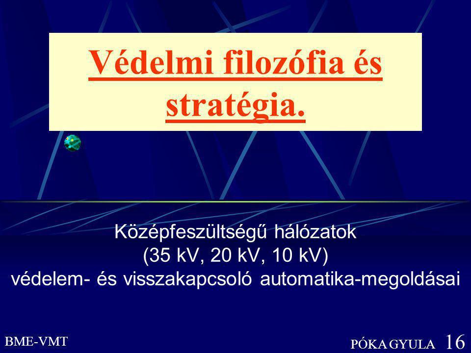 BME-VMT PÓKA GYULA 16 Védelmi filozófia és stratégia. Középfeszültségű hálózatok (35 kV, 20 kV, 10 kV) védelem- és visszakapcsoló automatika-megoldása