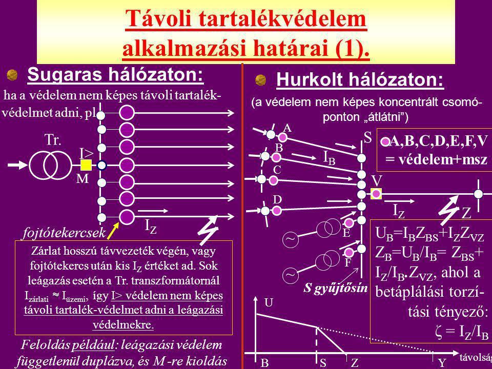 """Sugaras hálózat (aláosztás nincs, esetleg holtidőben leválasztó szakaszkapcsoló (köv.dia) ) RÖVIDZÁRLATVÉDELEM: Kétlépcsős túláramvédelem (I>>, I>t) + kétfokozatú HVA (háromfázisú visszakapcsoló automatika) (GVA + LVA = gyors + lassú) FÖLDZÁRLATVÉDELEM: Kompenzált hálózaton: U 0 >t (  2 s)  csillagpontba """"R beiktatás (földzárlati áramnövelés) 3I 0 >t  + kétfokozatú HVA Újabban néhol nincs R beiktatás: 3I 0 >t + S 0 vagy 3."""