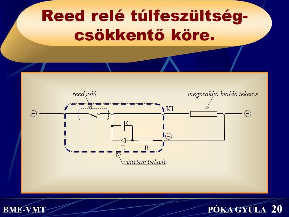 Reed relé túlfeszültség- csökkentő köre. BME-VMT PÓKA GYULA 20 reed relémegszakító kioldó tekercs C E R védelem belseje – KI + –