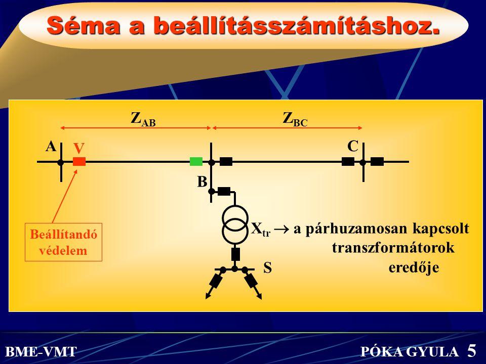 Séma a beállításszámításhoz. Z AB Z BC Beállítandó védelem A B C X tr  a párhuzamosan kapcsolt transzformátorok eredője BME-VMT PÓKA GYULA 5 V S