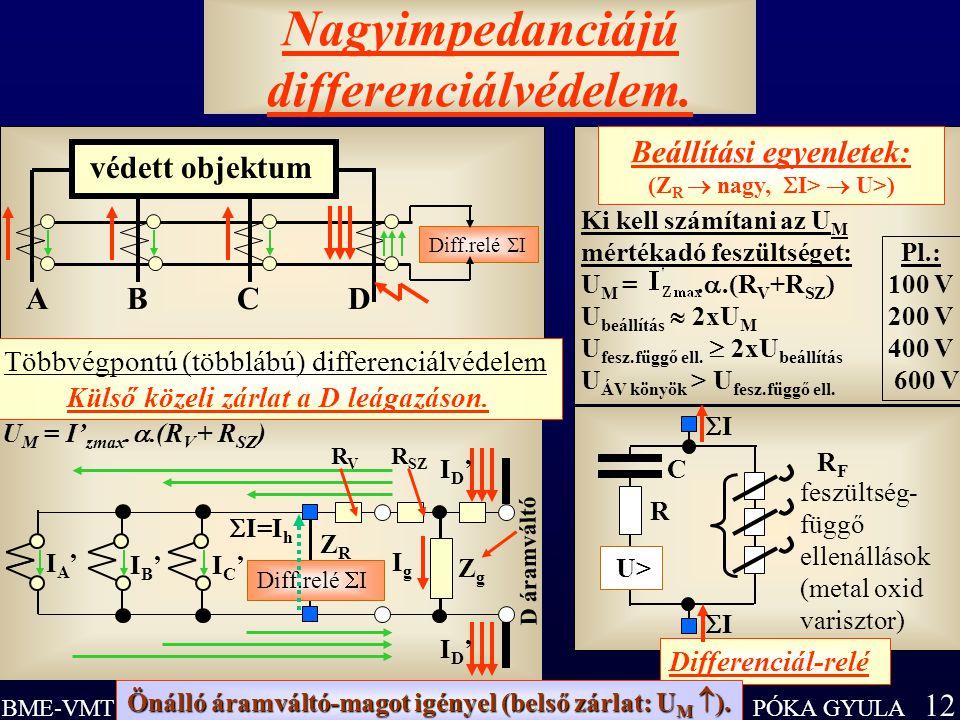 PÓKA GYULA 12 BME-VMT Nagyimpedanciájú differenciálvédelem. U> R F feszültség- függő ellenállások (metal oxid varisztor) R C Differenciál-relé II I