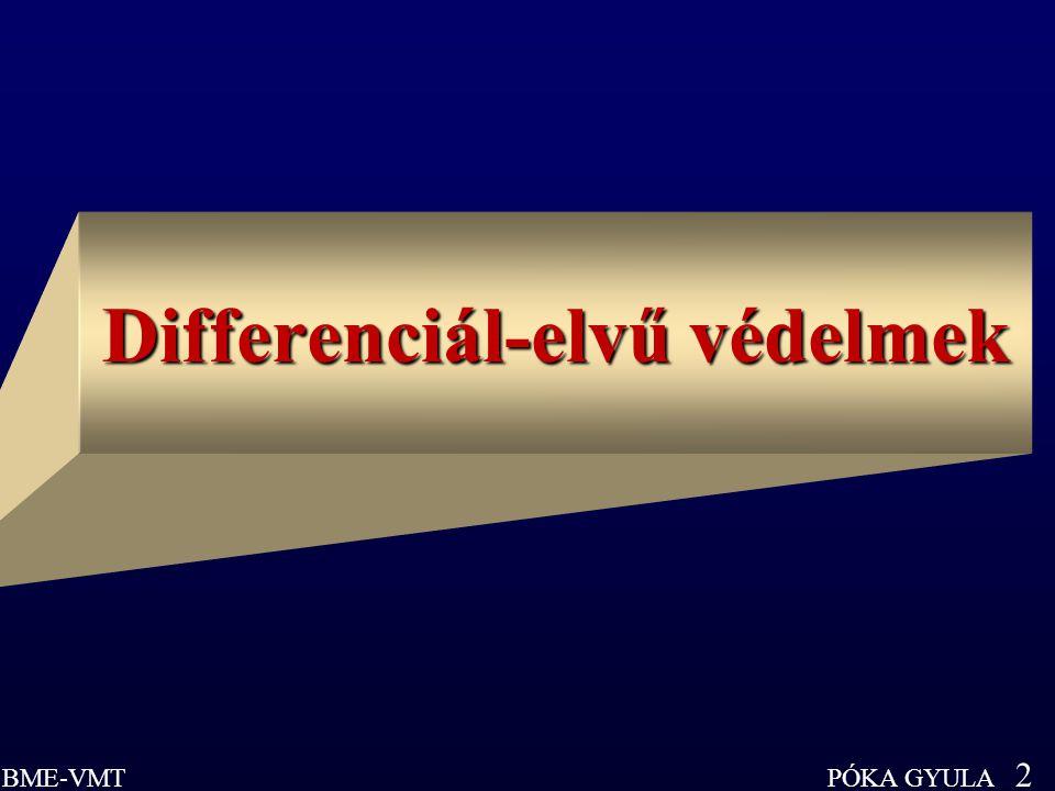 PÓKA GYULA 3 BME-VMT Differenciál-elvű védelmek Differenciál-elvű védelmek (Differential Protection, Differencialschutz) Három alapvető tulajdonság: 1.) minden belső zárlatra pillanatműködésű (t = 0): mert határai egzaktak 2.) külső zárlatra érzéketlen: nem ad rá természetes tartalékvédelmet 3.) a védett elem két (vagy több) végpontja között információs összeköttetést (csatornát) igényel Mennyiségek, amelyeket összehasonlít: a.) áramok összegezése (Kirchhoff I.) (k.dia) b.) áramirány-összehasonlítás (k.dia) c.) teljesítményirány-összehasonlítás (k.dia) d.) távolsági védelmek mérésössze- hasonlítása (lásd később a 9.