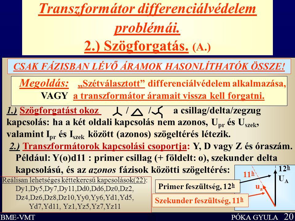 """PÓKA GYULA 20 BME-VMT Transzformátor differenciálvédelem problémái. 2.) Szögforgatás. (A.) CSAK FÁZISBAN LÉVŐ ÁRAMOK HASONLÍTHATÓK ÖSSZE! Megoldás: """"S"""