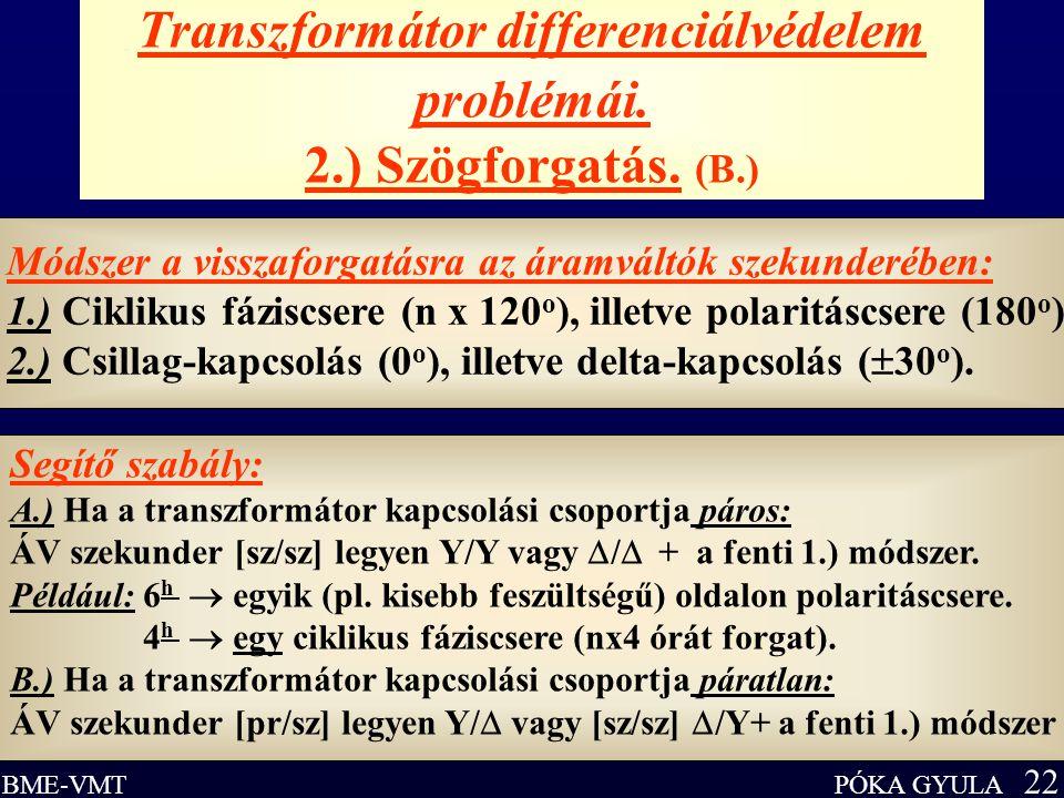 PÓKA GYULA 22 BME-VMT Transzformátor differenciálvédelem problémái. 2.) Szögforgatás. (B.) Módszer a visszaforgatásra az áramváltók szekunderében: 1.)