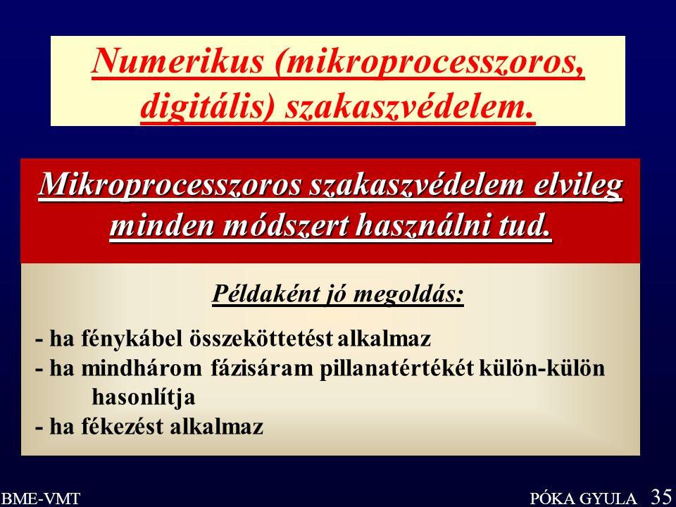 PÓKA GYULA 35 BME-VMT Numerikus (mikroprocesszoros, digitális) szakaszvédelem. Példaként jó megoldás: - ha fénykábel összeköttetést alkalmaz - ha mind