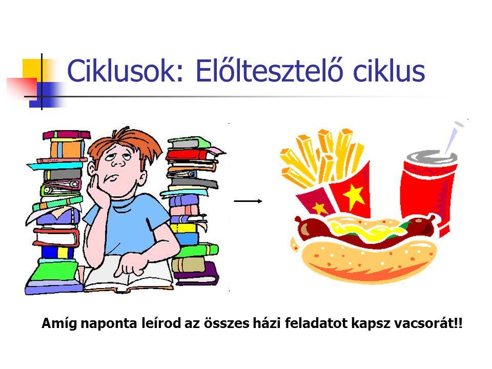 Ciklusok: Előltesztelő ciklus Amíg naponta leírod az összes házi feladatot kapsz vacsorát!!
