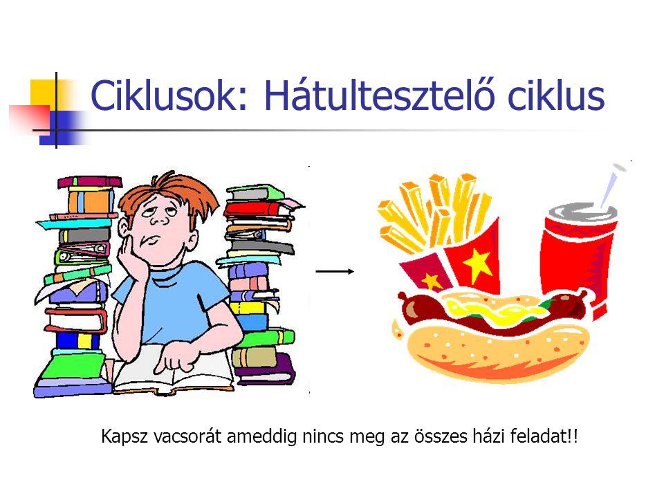 Ciklusok: Hátultesztelő ciklus Kapsz vacsorát ameddig nincs meg az összes házi feladat!!