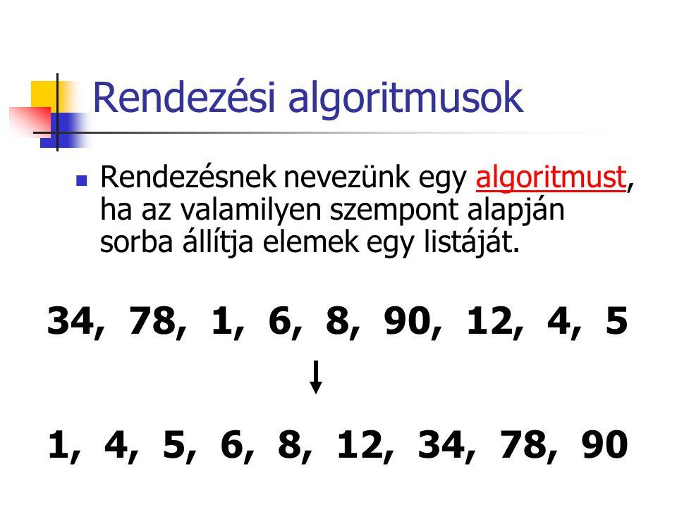 Rendezési algoritmusok Rendezésnek nevezünk egy algoritmust, ha az valamilyen szempont alapján sorba állítja elemek egy listáját.algoritmust 34, 78, 1, 6, 8, 90, 12, 4, 5 1, 4, 5, 6, 8, 12, 34, 78, 90