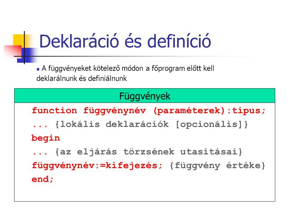 function függvénynév (paraméterek):típus;... {lokális deklarációk [opcionális]} begin...