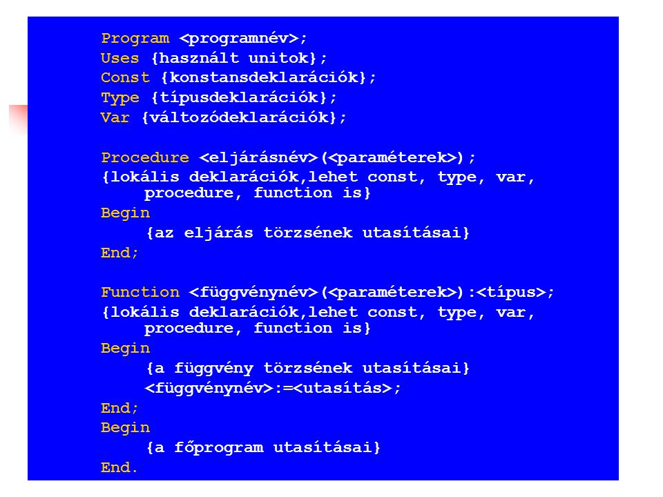 Program ; Uses {használt unitok}; Const {konstansdeklarációk}; Type {típusdeklarációk}; Var {változódeklarációk}; Procedure ( ); {lokális deklarációk,