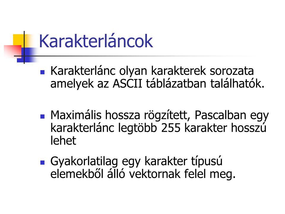 Karakterláncok Karakterlánc olyan karakterek sorozata amelyek az ASCII táblázatban találhatók. Maximális hossza rögzített, Pascalban egy karakterlánc