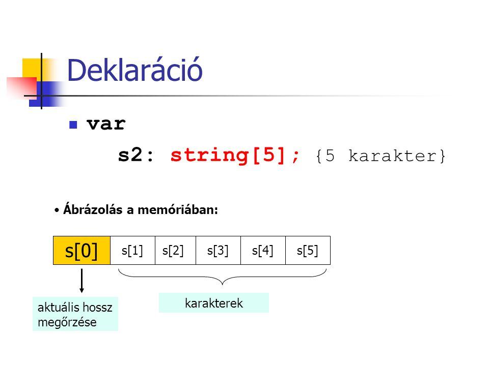 Deklaráció var s2: string[5]; {5 karakter} s[1]s[2] s[0] s[3]s[4]s[5] Ábrázolás a memóriában: aktuális hossz megőrzése karakterek