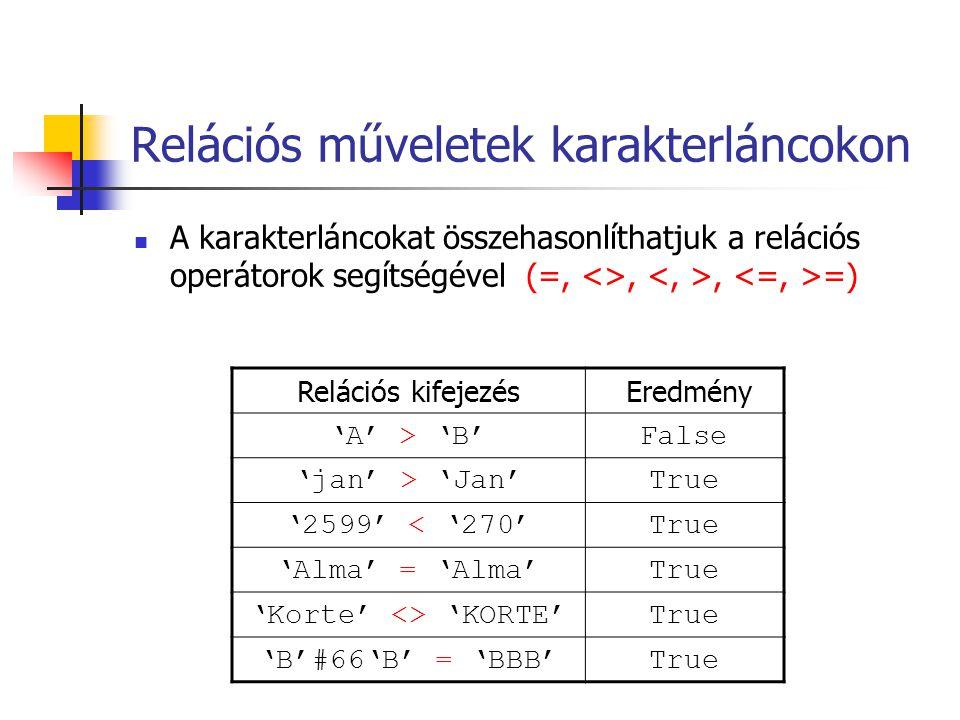Relációs műveletek karakterláncokon A karakterláncokat összehasonlíthatjuk a relációs operátorok segítségével (=, <>,, =) Relációs kifejezés Eredmény