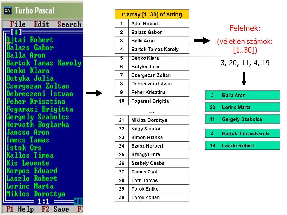t: array [1..30] of string 1Ajtai Robert 2Balazs Gabor 3Balla Aron 4Bartok Tamas Karoly 5Benko Klara 6Butyka Julia 7Csergezan Zoltan 8Debreczeni Istva