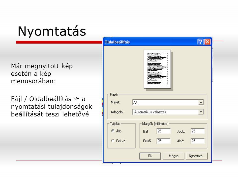 Nyomtatás Már megnyitott kép esetén a kép menüsorában: Fájl / Oldalbeállítás  a nyomtatási tulajdonságok beállítását teszi lehetővé